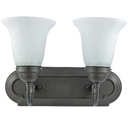 Sunlite 2 Lamp Vanity Decorative Sconce Fixture, Dusted Brown Finish, Alabaster Glass, B214D/DB/AL