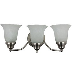 Sunlite 3 Lamp Decorative Sconce Vanity Fixture, Satin Nickel Finish, Alabaster Glass, S1150A