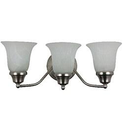 Sunlite 3 Lamp Decorative Sconce Vanity Fixture, Satin Nickel Finish, Alabaster Glass, S1150A
