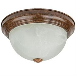 "Sunlite 11"" Decorative Dome Ceiling Fixture, Distressed Brown Finish, Alabaster Glass"