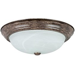"Sunlite 15"" Decorative Dome Ceiling Fixture, Distressed Brown Finish, Alabaster Glass, DDB15/AL"