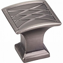 "Jeffrey Alexander Aberdeen Square Cabinet Knob 1-1/4"" in Brushed Pewter"