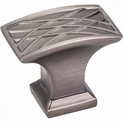 "Jeffrey Alexander Aberdeen Square Cabinet Knob 1-1/2"" in Brushed Pewter"