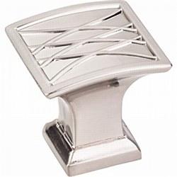 """Jeffrey Alexander Aberdeen Square Cabinet Knob 1-1/4"""" in Satin Nickel"""