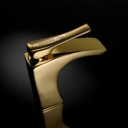 Skip Diamond Swarovski Faucet in Gold w/ Drain