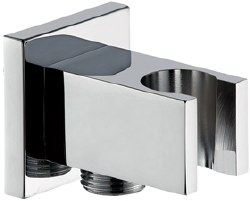 MZ Square Wall Elbow with Handshower Connection and Holder in Chrome