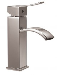 Single-lever Curved Spout Lavatory Faucet in Brushed Nickel