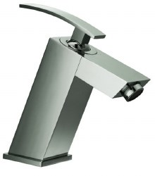 Single-lever Modern Square Lavatory Faucet in Brushed Nickel