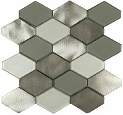 "Victoria Metals Hexy Mt. Stirling Blend Etched Metal and Polished Glass on 10-3/4X11"" Sheet"