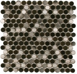 "Perth Penny Rounds, Black Stainless Steel Brushed 3/4"", per sheet"