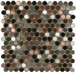 "Perth Penny Rounds, Brushed Blend, Copper, Stainless and Black 3/4"", per sheet"