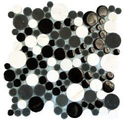 Agata Circle Black and White Mosaic on 12.2X12.2 Sheet
