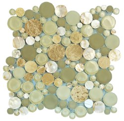 Agata Circle Shell Beige Mosaic on 12.2X12.2 Sheet