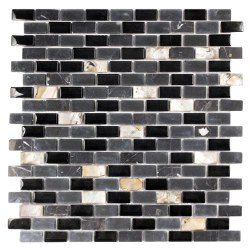 Agata Mix Shell Black Mosaic on 11.3X11.8 Sheet