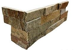 Amber Falls Quartzite L Corner Split Face Ledger Stone, per s/f