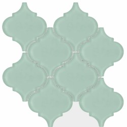 "Arabesque Green Frosted Glass Mosaic on 10X10.5"" Sheet"