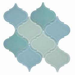 "Arabesque Shimmer Blue Mosaic on 11.75X11.75"" Sheet"
