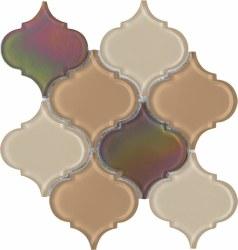 "Arabesque Tan Small Glass Mosaic on 10X10.5"" Sheet"