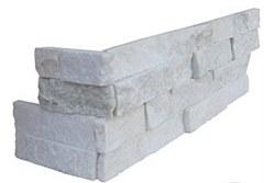 Arctic White Quartzite L Corner Split Face Ledger Stone, per s/f