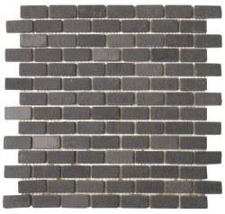 Black Brick Slate Mosaic 3/4 X 1  on a 12X12 Sheet
