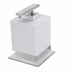 Be Counter Soap Dispenser in Polished Chrome with White Accent