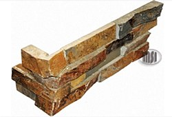 California Gold Quartzite L Corner Split Face Ledger Stone, per s/f