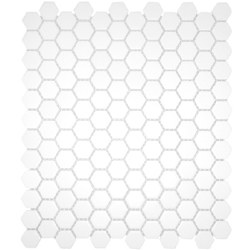 CC White Matte 1X1 Hexagon Mosaics on 12X12 Sheet, UFCC104-12M
