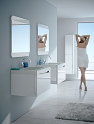 """Code 24"""" Gloss White Vanity Set with White Resin Top"""