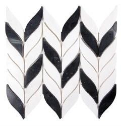 Elegance Black and White Stone Mosaic on 10.4X12 Sheet