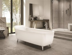 Aria Encore White Freestanding Tub 68X28 with Brushed Nickel Drain & Overflow