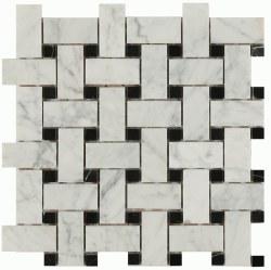 Daintree Exotic Basketweave Bianco Carrara/ Nero Polished, 12x12 sheet