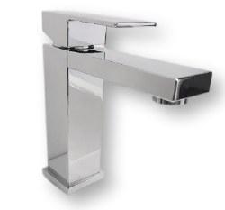 Milan Single Hole Square Bathroom Faucet in Polished Chrome