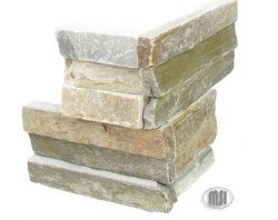 Golden Honey Quartzite L Corner Split Face Ledger Stone, per s/f
