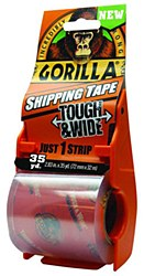 Gorilla Tough & Wide Shipping Tape, 1 Roll Refill with Dispenser, Total 2.83in. X 35 yd.