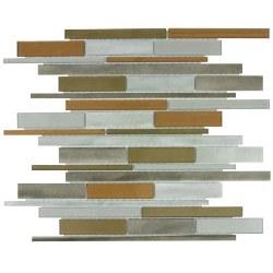 "Metal Glass Metropolitan Beige Mosaic on 12X15"" Sheet"