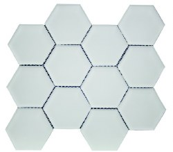 "Simpson Desert Glass Alabastro Matte 3x3"" Hexagon on 9""X11"" Sheet"