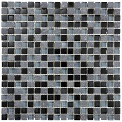 "Bliss Black Timber 5/8"" on 12x12"" Mosaic, per sheet"