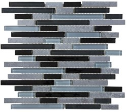Bliss Black Timber Random Linear Mosaic, per sheet
