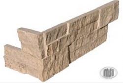 Roman Beige Travertine Split Face L Corner Ledger Stone, per s/f