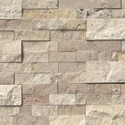 Roman Beige Travertine Split Face Ledger Stone, per s/f