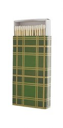 Rewined, Green Plaid Matchboxes, 60 Matches per box