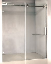 "Frameless Shower Door 60"" with Clear Tempered Glass in Chrome Finish"
