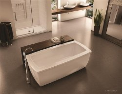 Aria Serenade White Freestanding Tub 70X35 with Brushed Nickel Drain & Overflow