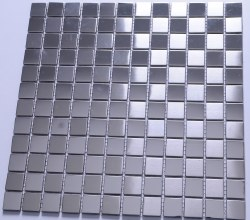 Stainless Steel Satin and Polished Small Squares Mosaic on 12.99X12.99 Sheet