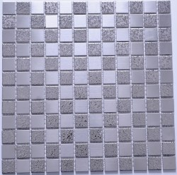Stainless Steel Small Satin and Rough Squares Mosaic on 12.99X12.99 Sheet