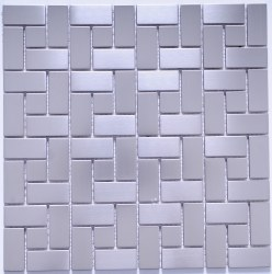 Stainless Steel Intersquares Mosaic on 11.88X11.88 Sheet
