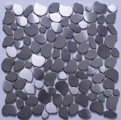 Stainless Steel Pebbles Mosaic on 12X12 Sheet