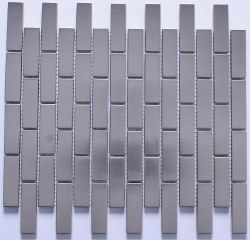 Stainless Steel Linear Subway Mosaic on 10.39X12.20 Sheet