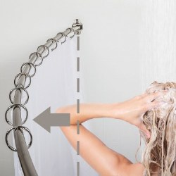 """Curved Shower Rod for 60-72"""" Openings in Satin Nickel"""