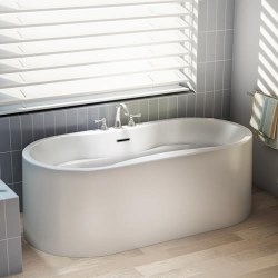 Aria Stanza Freestanding Tub White 67X32 With Brushed Nickel Drain & Overflow